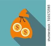 orange money bag icon. flat... | Shutterstock .eps vector #510172585