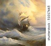 ancient sailing vessel in... | Shutterstock . vector #51017665