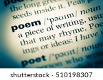 Stock photo close up of old english dictionary page with word poem 510198307