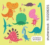 cute dinosaurs on a yellow... | Shutterstock .eps vector #510208201