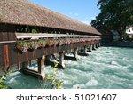 Old Swiss Bridge In Thuns