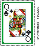 stamp with queen of clubs | Shutterstock .eps vector #5102203