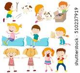 kids doing different actions... | Shutterstock .eps vector #510237919