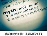 Small photo of Close up of old English dictionary page with word myth