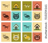 Stock vector assembly flat icons dog cats pets 510254161