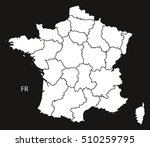 france map with regions  black... | Shutterstock .eps vector #510259795