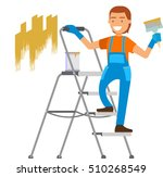 craftsman painting white wall... | Shutterstock .eps vector #510268549