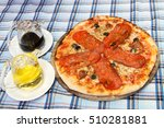 the best pizza with spicy... | Shutterstock . vector #510281881