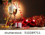 champagne pouring from bottle... | Shutterstock . vector #510289711