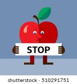 apple  holding a stop sign.... | Shutterstock .eps vector #510291751