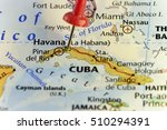 Havana capitol of Cuba pinned map. Copy Space available.