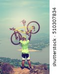 Success  and winning concept with cycling, mountain biking happy. He spun on. - stock photo