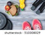 fitness concept  pink sneakers  ... | Shutterstock . vector #510308029