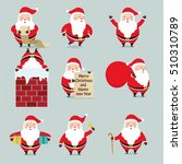 set of santa claus. cute new... | Shutterstock .eps vector #510310789