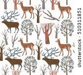 seamless pattern with wild deers | Shutterstock .eps vector #510311851