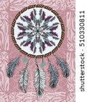 Ethnic illustration, tribal amulet. American Indians traditional symbol. Vector design element. Indian Dream catcher.