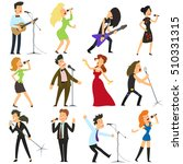 funny people sing into the... | Shutterstock .eps vector #510331315
