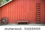Rustic Red Bench Outside Red...