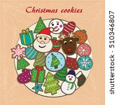 christmas card with cookies... | Shutterstock .eps vector #510346807