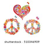 print with hippie symbolic ... | Shutterstock .eps vector #510346909