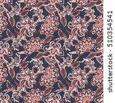 ethnic flowers seamless pattern.... | Shutterstock . vector #510354541