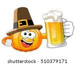 pilgrim cartoon pumpkin holding ... | Shutterstock .eps vector #510379171