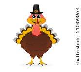 turkey in hat on thanksgiving... | Shutterstock .eps vector #510393694