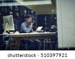 businessman using tablet pc in... | Shutterstock . vector #510397921