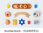 hanukkah holiday food and... | Shutterstock . vector #510405511
