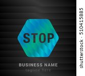 stop sign blue green and black...   Shutterstock .eps vector #510415885