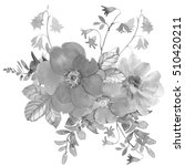 Stock photo boquet of flowers wild rose peony and westeria hand drawn watercolor botanical black and white 510420211