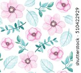 watercolor floral seamless... | Shutterstock . vector #510422929