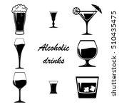 set of vector alcoholic drinks. ... | Shutterstock .eps vector #510435475