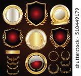 vector medieval golden shields... | Shutterstock .eps vector #510449179