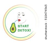 detox label. face of young gorl ... | Shutterstock .eps vector #510474565