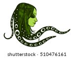 green alien woman. girl with... | Shutterstock .eps vector #510476161
