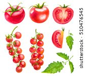 tomatoes cherry. watercolor... | Shutterstock . vector #510476545