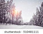 beautiful snowy landscape in... | Shutterstock . vector #510481111