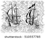 engraved marine illustration... | Shutterstock .eps vector #510557785