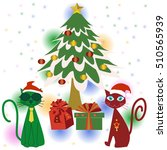 green and red cat gift... | Shutterstock .eps vector #510565939