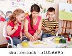 children with teacher draw... | Shutterstock . vector #51056695