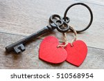 Key With Two Hearts As A Symbo...