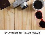 vintage camera  passport and... | Shutterstock . vector #510570625