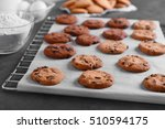Freshly Baked Cookies On Tray...