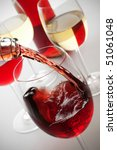 red wine poured in a standard... | Shutterstock . vector #51061048