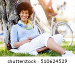 young woman using tablet in the ... | Shutterstock . vector #510624529
