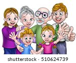 cartoon family with parents ... | Shutterstock . vector #510624739