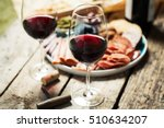 red wine with charcuterie... | Shutterstock . vector #510634207