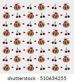 flat fruits pattern. vector... | Shutterstock .eps vector #510634255