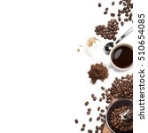 coffee attributes on a white... | Shutterstock . vector #510654085